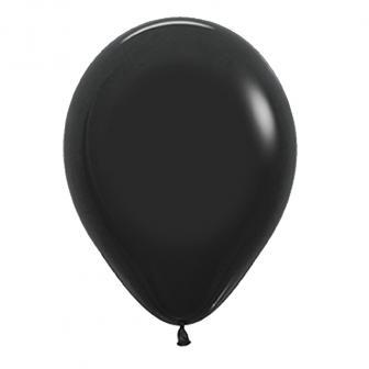 Einfarbige Luftballons Kunterbunt 8er Pack-schwarz