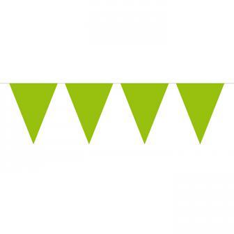 Einfarbige Wimpel-Girlande 10 m-grün