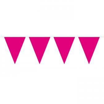 Einfarbige Wimpel-Girlande 10 m-magenta