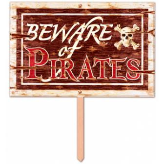 3D Schild Beware of Pirates 48 cm