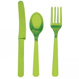 Einfarbiges Besteck-Set 24-tlg.-hellgrün