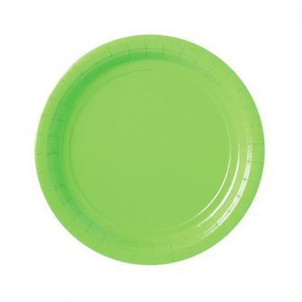Einfarbige Pappteller 23 cm 8er Pack-hellgrün