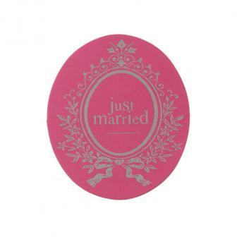 """Aufkleber """"Just Married"""" 50er Pack-pink"""