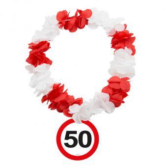 """Blumenkette """"Verkehrsschild 50. Geburtstag"""""""