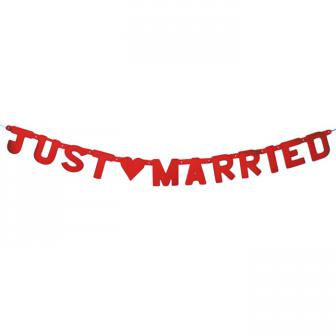 """Buchstaben-Girlande """"Just Married"""" 1,5 m"""