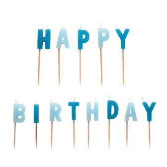"""Buchstaben-Kerzen auf Holz Picker """"Happy Birthday"""" 13-tlg."""