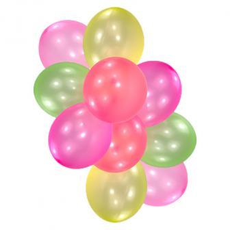 Bunte UV Leucht-Luftballons 10er Pack
