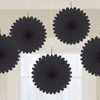Deckendeko Blüte aus Wabenpapier 15 cm 5er Pack-schwarz