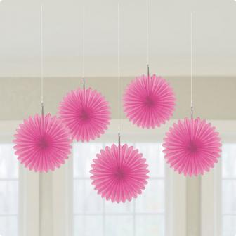 Deckendeko Blüte aus Wabenpapier 15 cm 5er Pack-pink