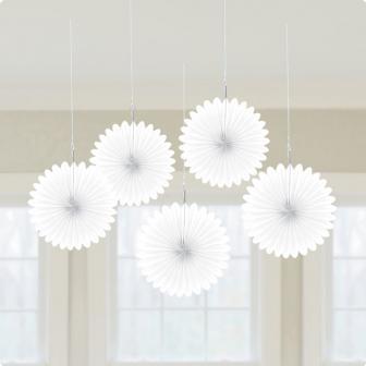 Deckendeko Blüte aus Wabenpapier 15 cm 5er Pack-weiß