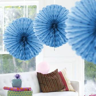 Deckendeko Fächer aus Wabenpapier 45 cm-blau