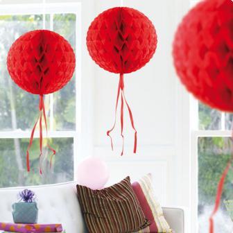 """Deckenhänger """"Ball aus Wabenpapier"""" 30 cm-rot"""
