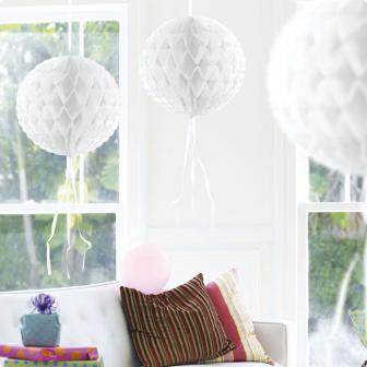 "Deckenhänger ""Ball aus Wabenpapier"" 30 cm-weiß"