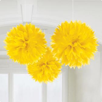 """Deckenhänger """"Einfarbige Blüte aus Papier"""" 3er Pack-gelb"""