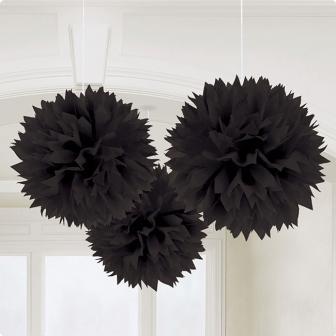 """Deckenhänger """"Einfarbige Blüte aus Papier"""" 3er Pack-schwarz"""
