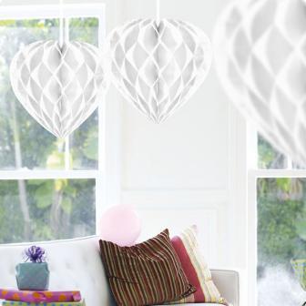 """Deckenhänger """"Herz aus Wabenpapier"""" 30 cm-weiß"""