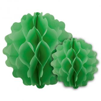 Einfarbige Deckendeko aus Wabenpapier 2er Pack-grün