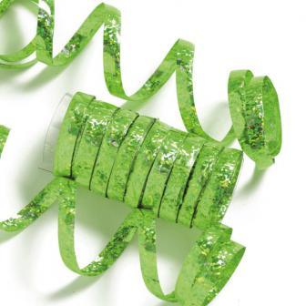 Einfarbige Glitzer Luftschlangen-grün