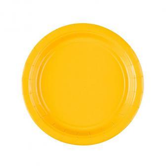 Einfarbige kleine Pappteller 18 cm 8er Pack-gelb