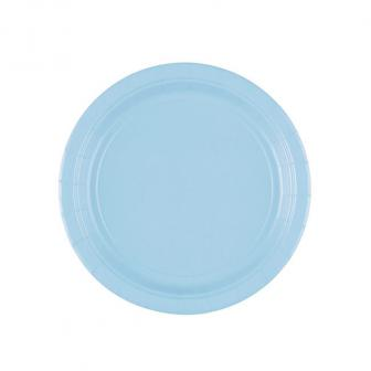Einfarbige kleine Pappteller 18 cm 8er Pack-pastell-blau