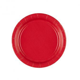 Einfarbige kleine Pappteller 18 cm 8er Pack-rot