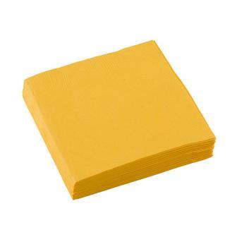 Einfarbige kleine Servietten 20er Pack-gelb