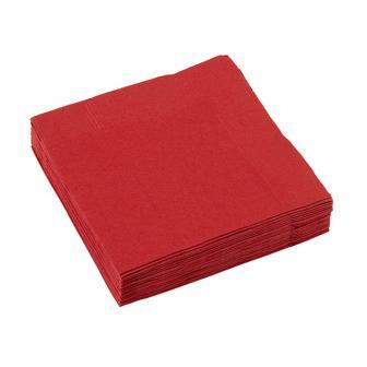 Einfarbige kleine Servietten 20er Pack-rot