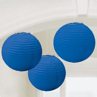Einfarbige Lampions 3er Pack 24 cm-blau