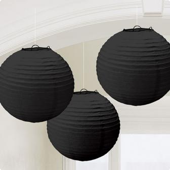 Einfarbige Lampions 3er Pack 24 cm-schwarz