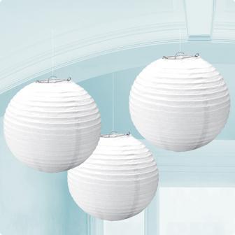 Einfarbige Lampions 3er Pack 24 cm-weiß
