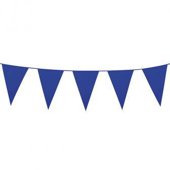 Einfarbige mini Wimpel-Girlande 3 m-blau