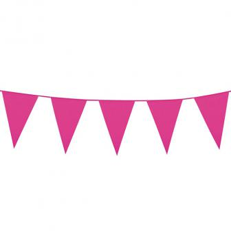Einfarbige mini Wimpel-Girlande 3 m-pink