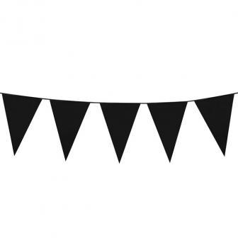 Einfarbige mini Wimpel-Girlande 3 m-schwarz