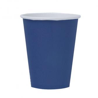 Einfarbige Pappbecher 266 ml 8er Pack-marineblau