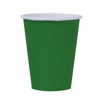 Einfarbige Pappbecher 266 ml 8er Pack-smaragdgrün