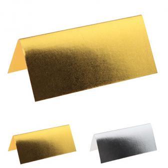 """Einfarbige Tischkarten """"Metallic"""" 10er Pack"""