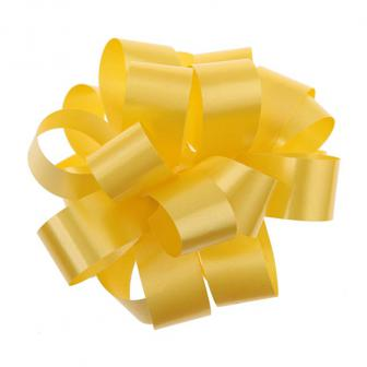 Einfarbige selbstraffende Ziehschleife 40 m-gelb