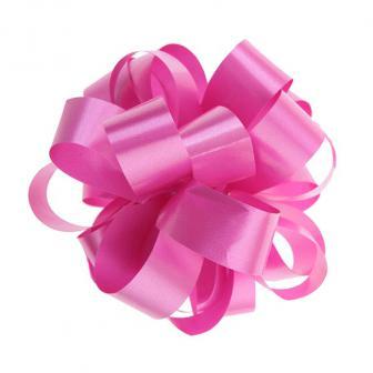 Einfarbige selbstraffende Ziehschleife 40 m-pink