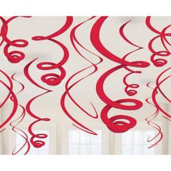 Einfarbige Wirbel-Deckenhänger 55 cm 12er Pack-rot