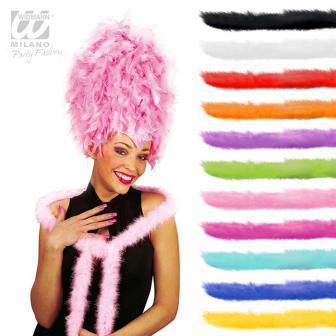 Einfarbiger Plüsch-Schal mit Federn 2 m