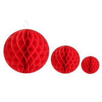 Einfarbiger Wabenpapier-Ball 2er Pack-rot-30 cm