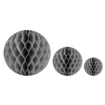 Einfarbiger Wabenpapier-Ball 2er Pack-grau-10 cm