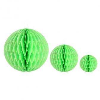 Einfarbiger Wabenpapier-Ball 2er Pack-grün-10 cm
