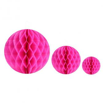 Einfarbiger Wabenpapier-Ball 2er Pack-pink-20 cm