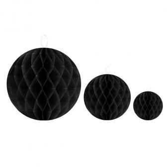 Einfarbiger Wabenpapier-Ball 2er Pack-schwarz-20 cm