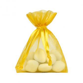 Einfarbiges Organza-Säckchen 10er Pack-gelb