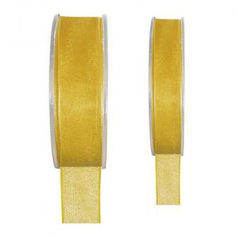 Einfarbiges Organza Deko-Band-gelb-15 mm
