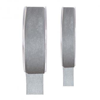 Einfarbiges Organza Deko-Band-grau-15 mm