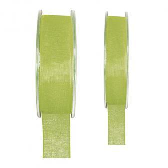 Einfarbiges Organza Deko-Band-grün-15 mm