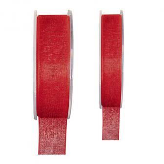Einfarbiges Organza Deko-Band-rot-15 mm